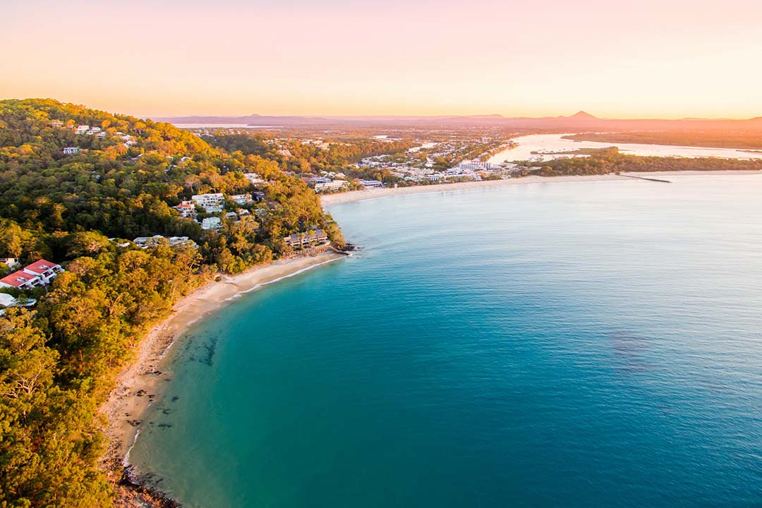 Noosa Biosphere - view of beach and national park